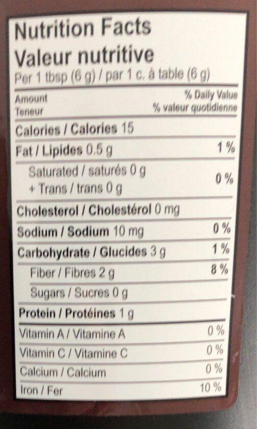 Cacao solubilisé noir - Informations nutritionnelles - fr