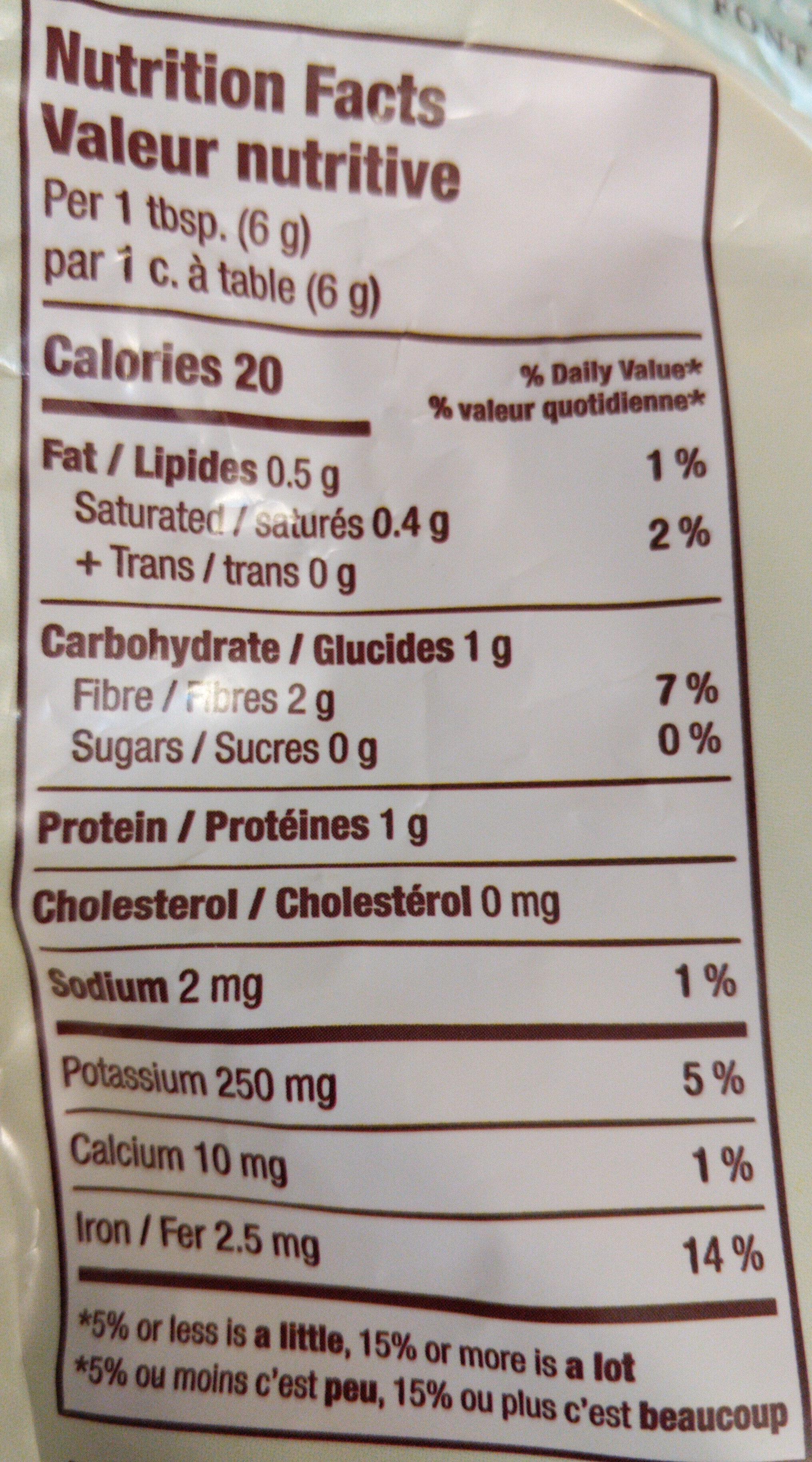 Cacao Biologique - Informations nutritionnelles - fr