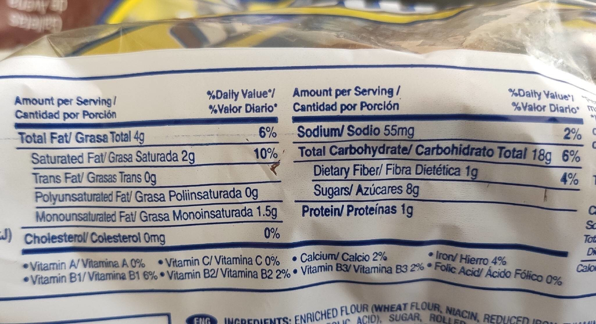 Oatmeal cookies - Nutrition facts