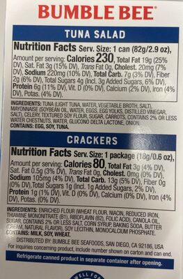 Snack on the run tuna salad with crackers - Nutrition facts