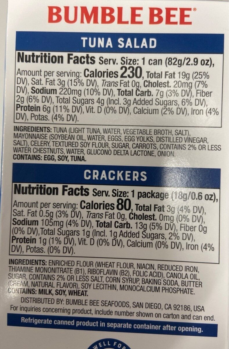 Snack on the run tuna salad with crackers - Nutrition facts - en