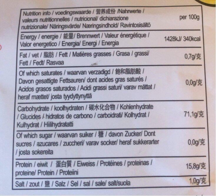 Egg Noodles - 营养成分 - en