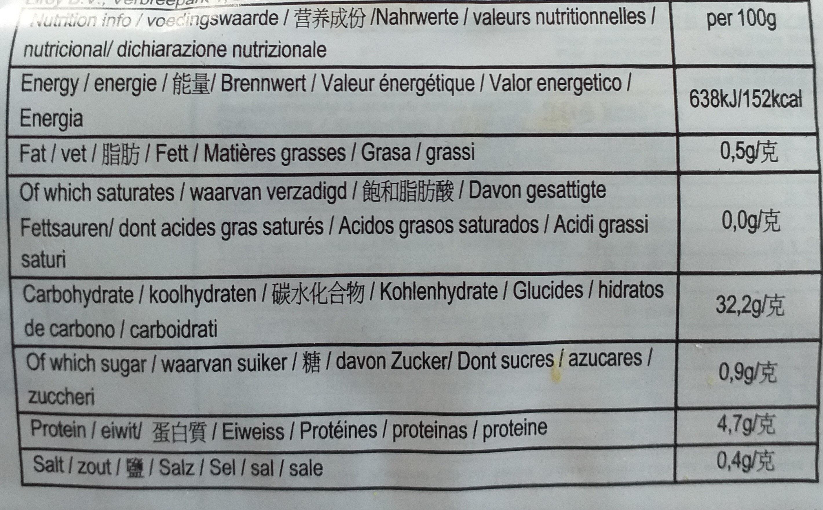 udon plat - Informations nutritionnelles