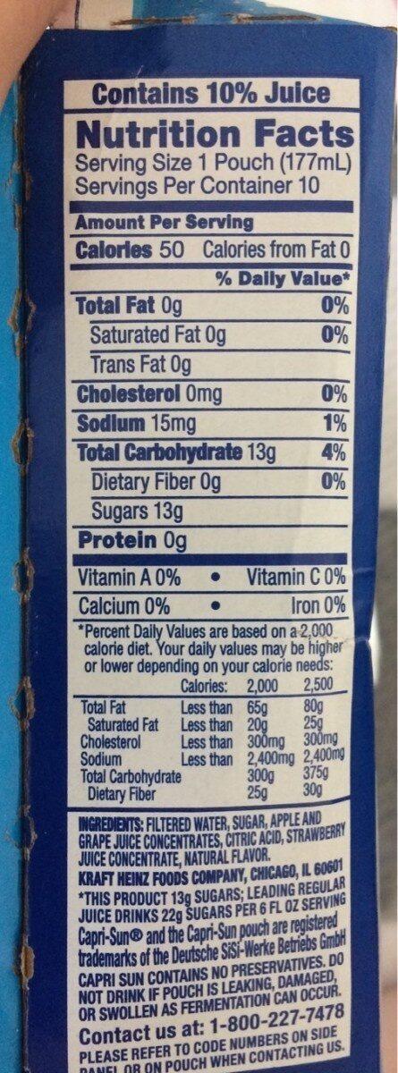 Splash Cooler - Nutrition facts - en