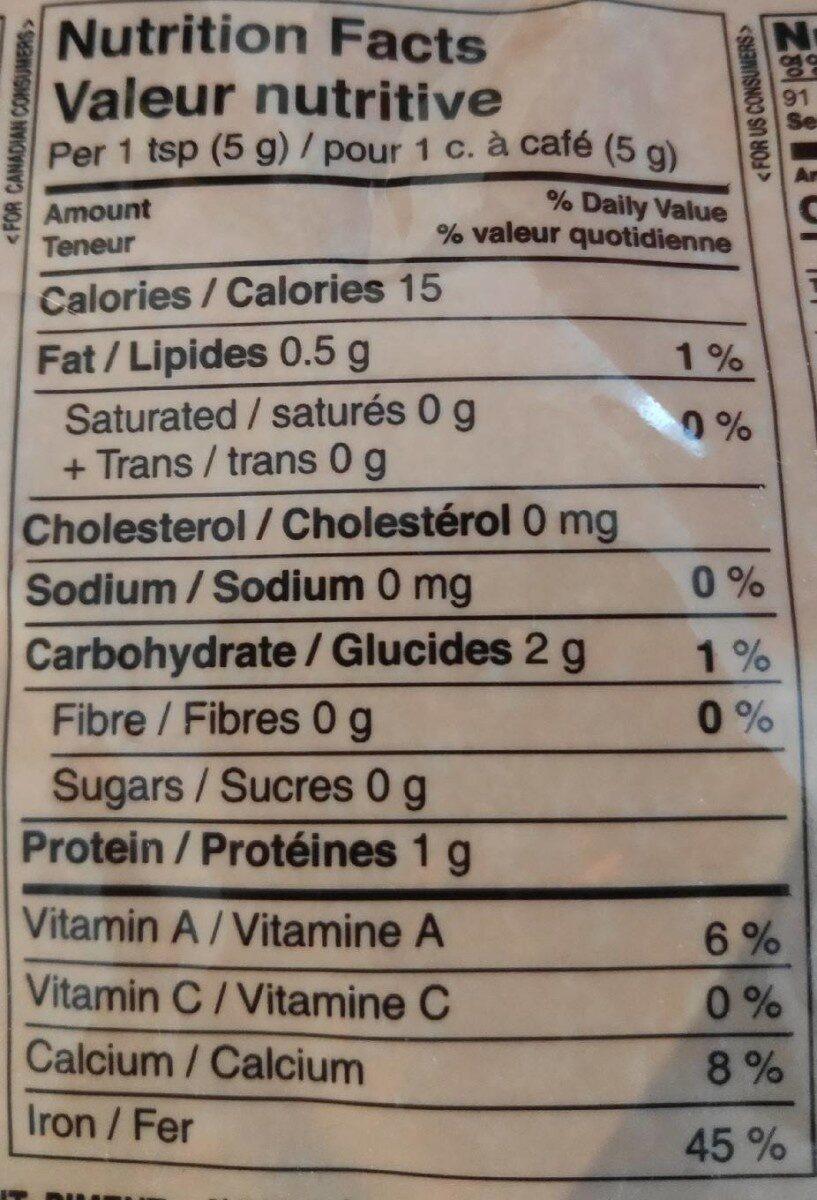 Red pepper powder - Valori nutrizionali - fr