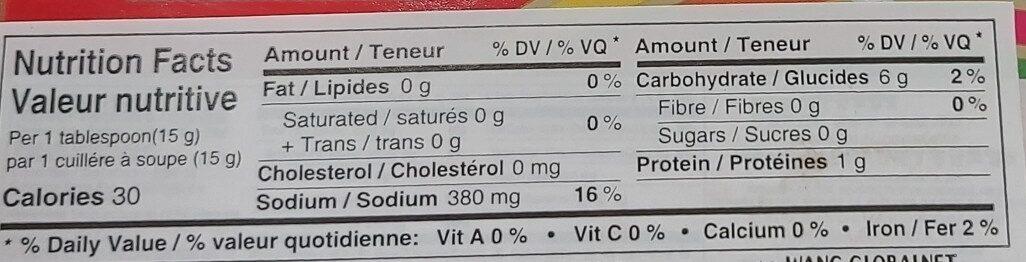 hot pepper paste - Informations nutritionnelles - fr