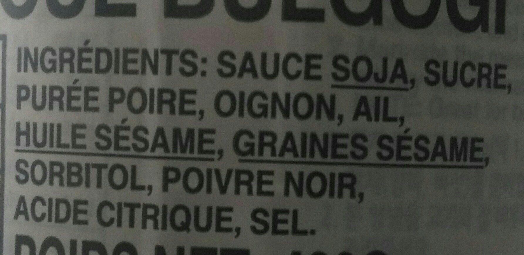 Korean Beef B.B.Q. Sauce - Ingredients