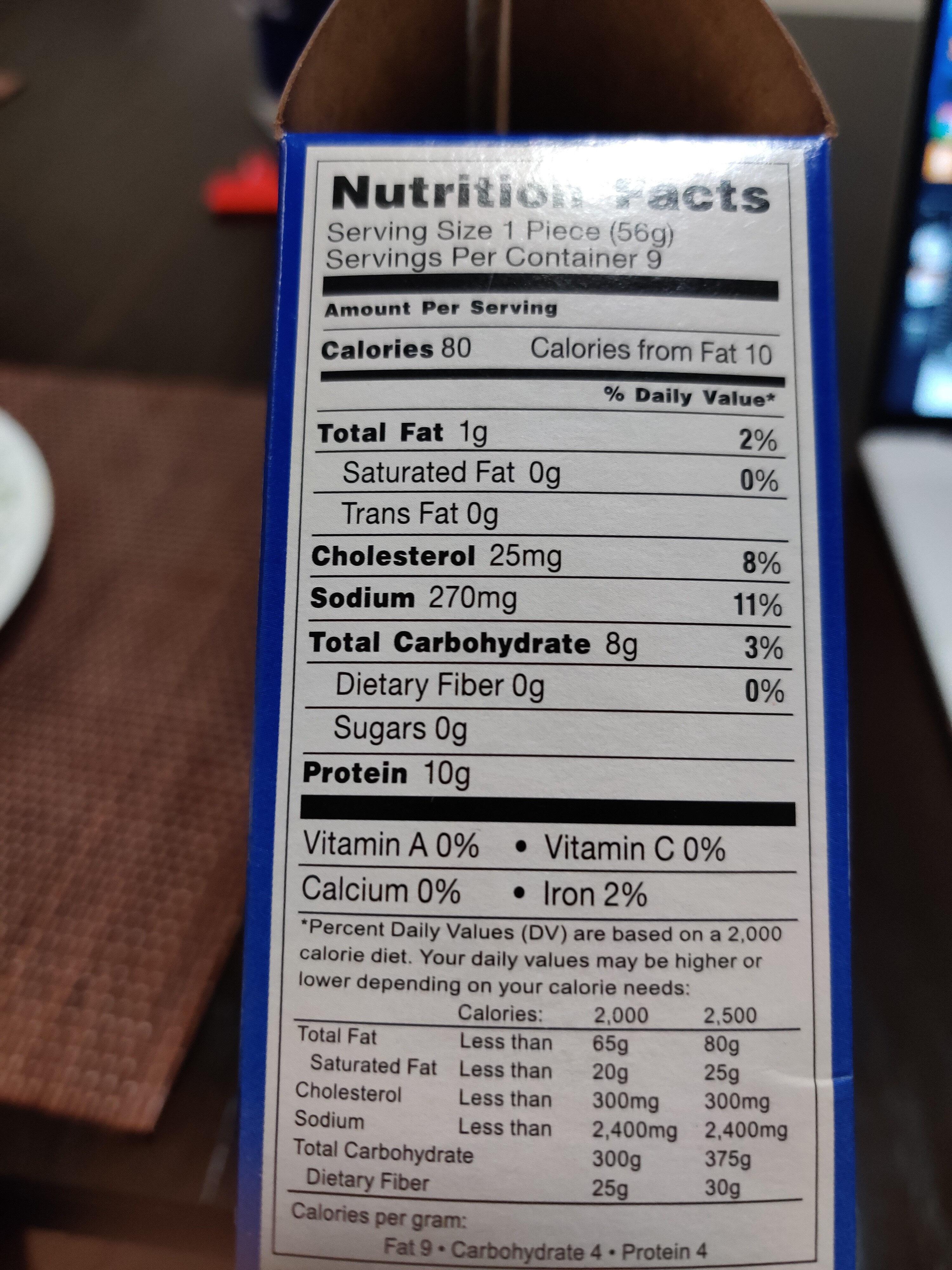 chicken tenders midamar - Nutrition facts - en