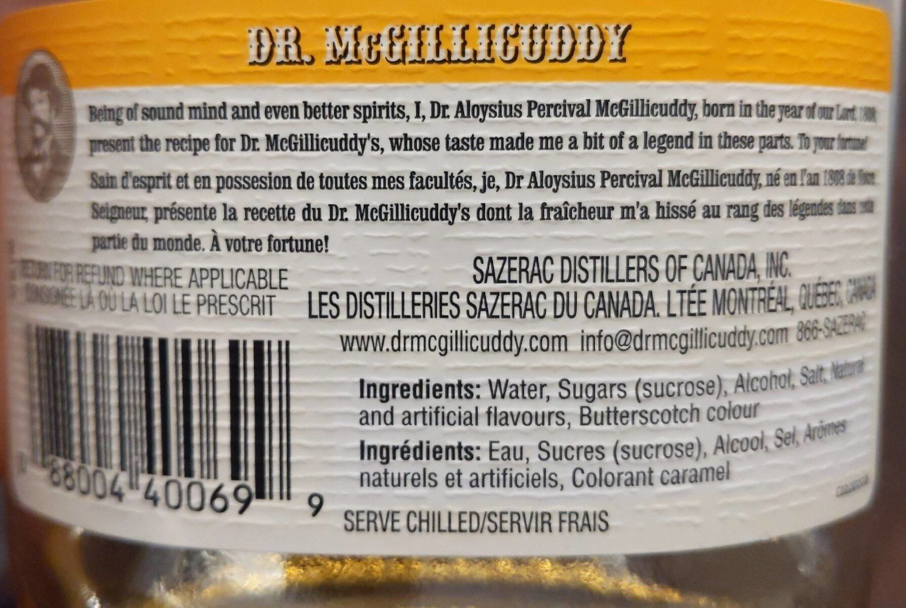 Dr.McGilliCuddy's - Informations nutritionnelles - fr