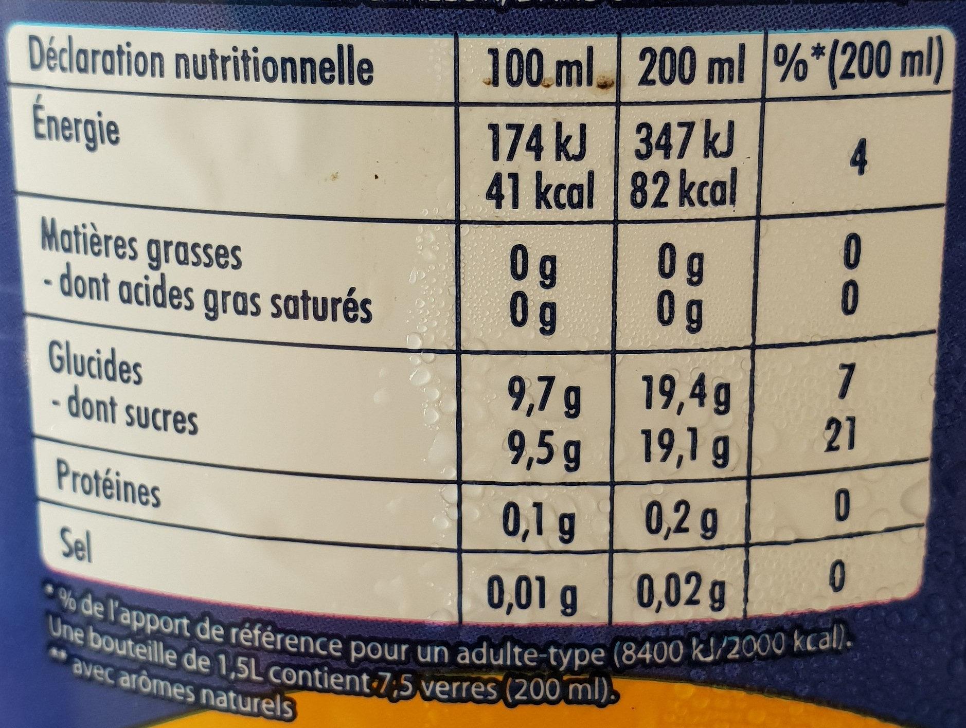 Orangina original - Informations nutritionnelles