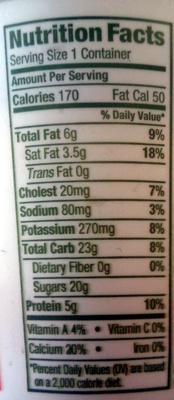 Apricot Mango Cream Top - Nutrition facts