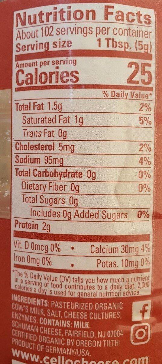 Organic Parmesan - Informations nutritionnelles - en