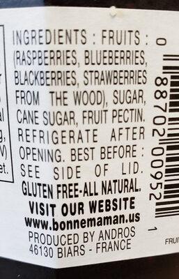 Mixed Berries Preserves - Ingredients