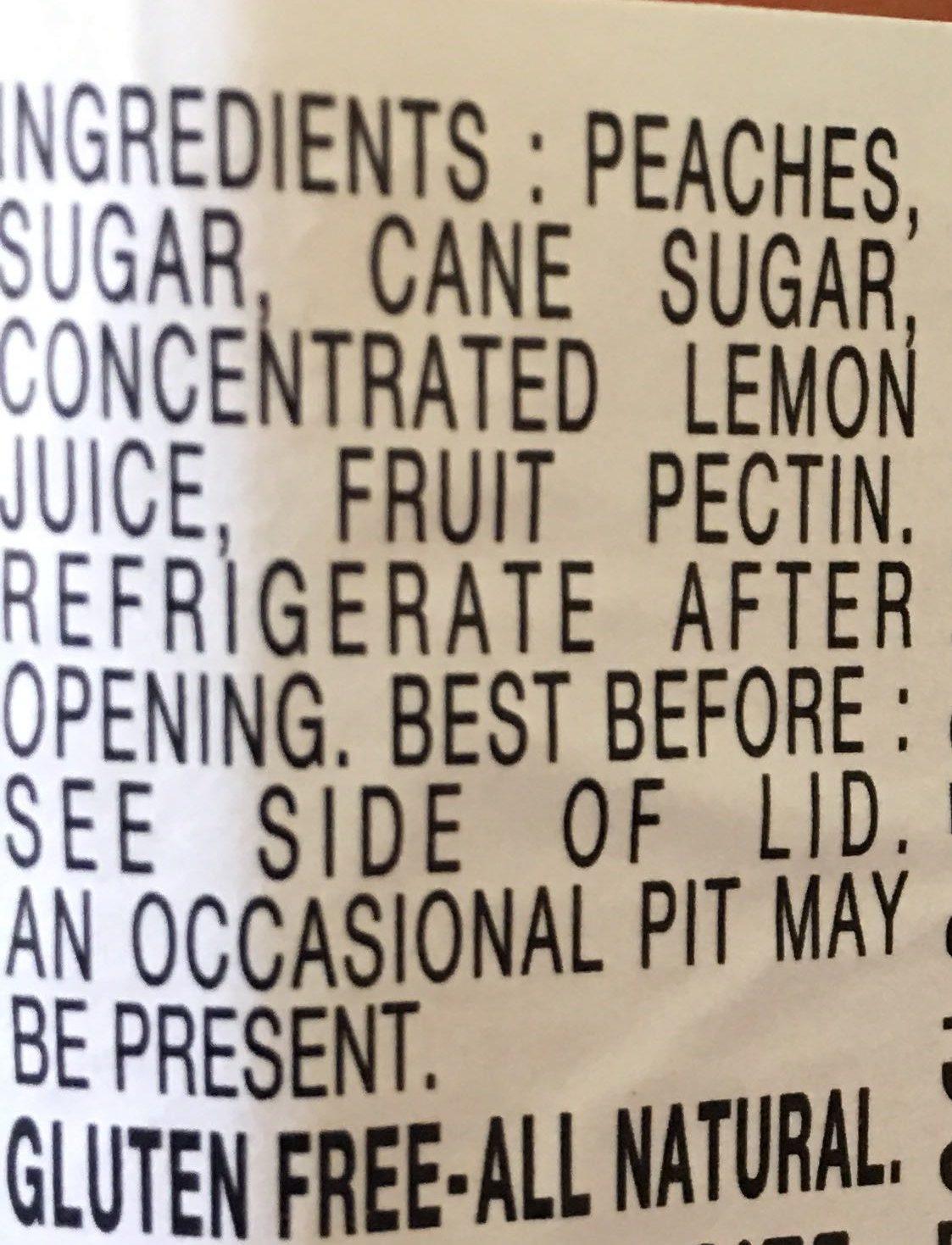 Preserves, Peach - Ingredients