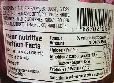 Confiture (bleuets Sauvages) - Nutrition facts
