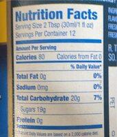 Bourbon Caramel Flavoring Syrup - Valori nutrizionali - en