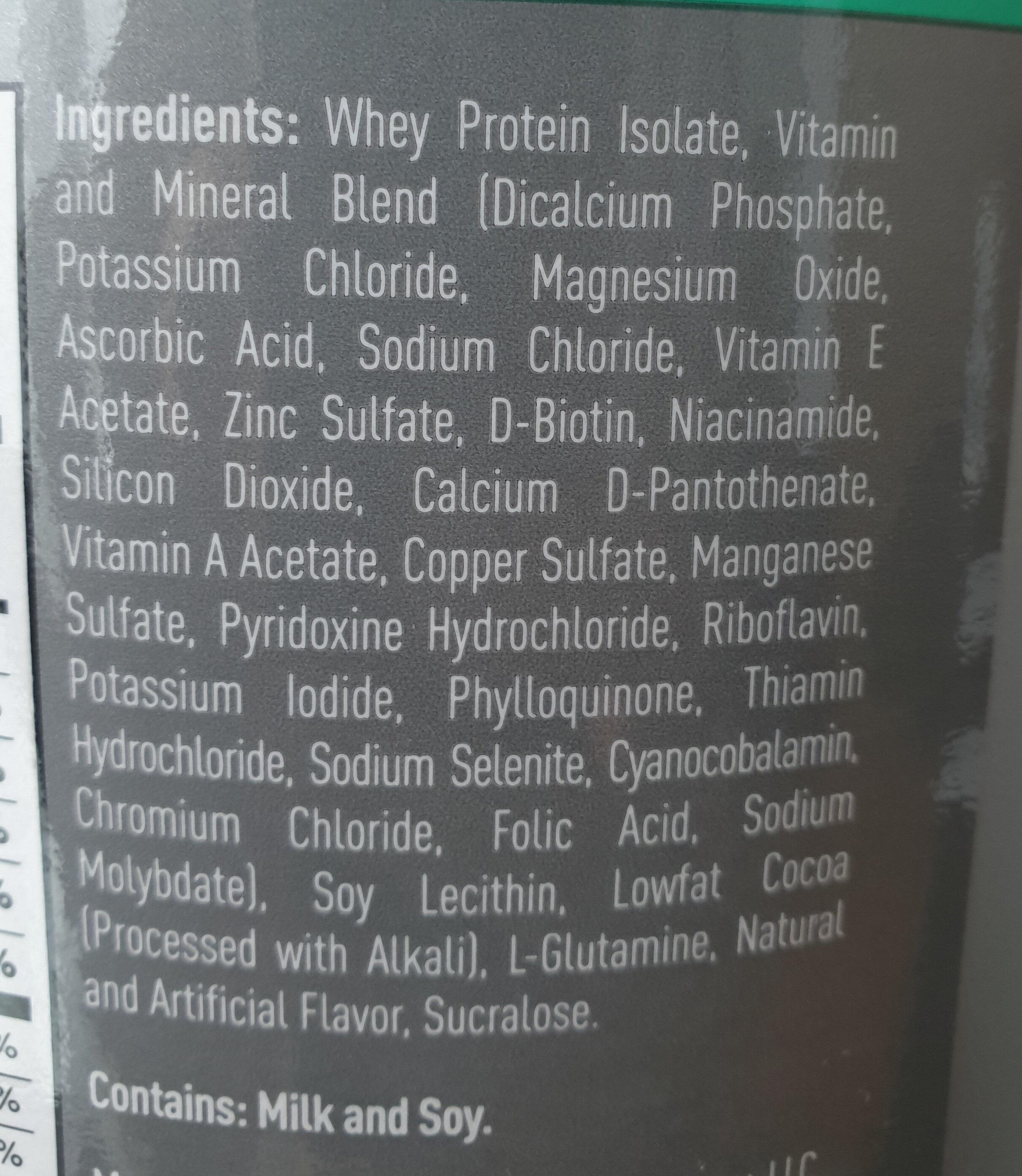 Isopure protein powder - Ingrediënten - en