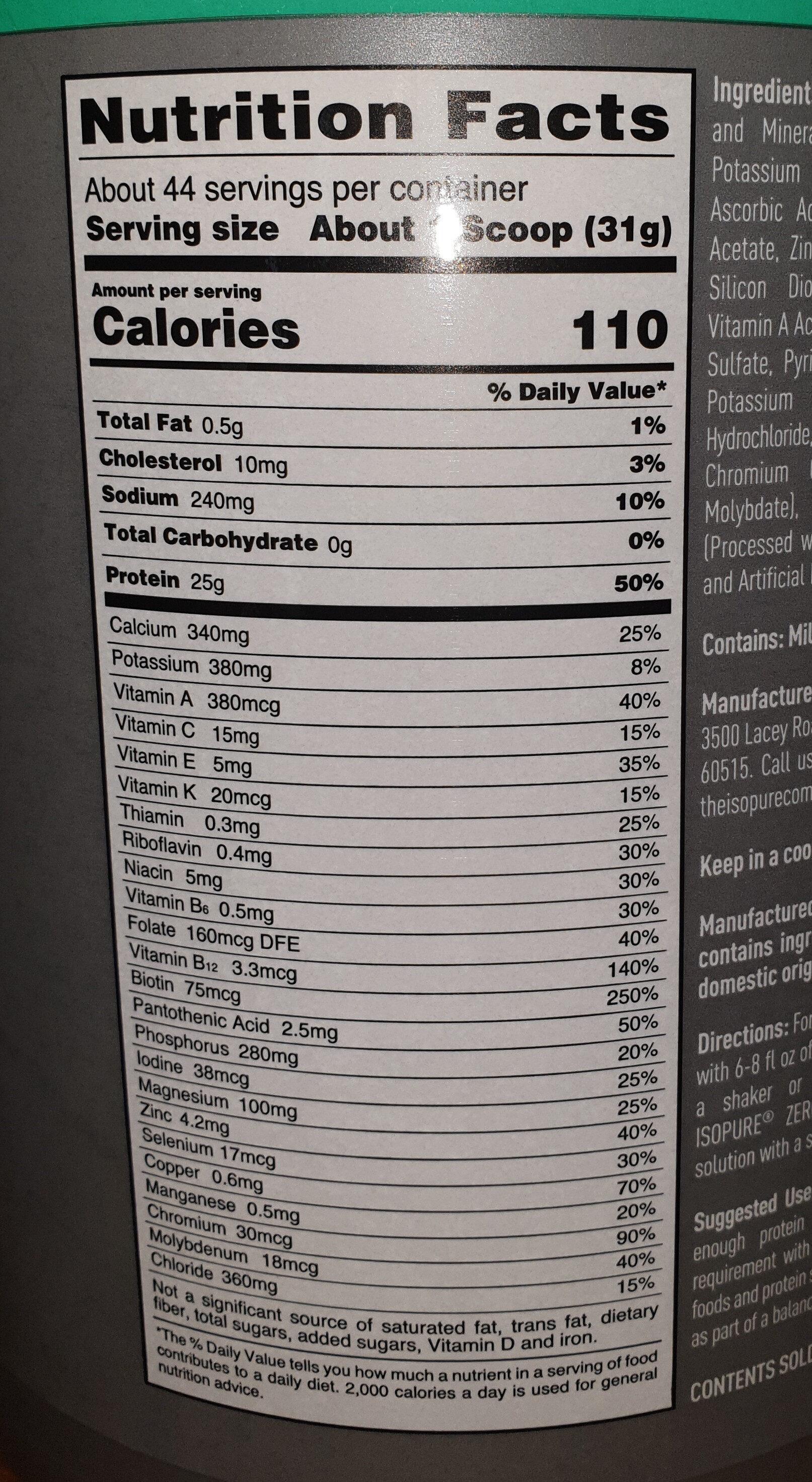 Isopure protein powder - Voedingswaarden - en