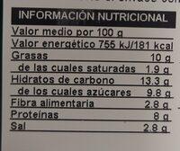 Burger vegetariana Veggie - Valori nutrizionali - es