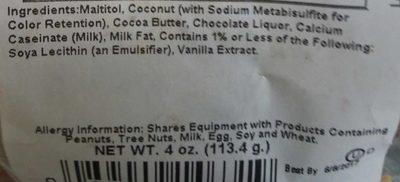 Asher's Chocolate co. - Ingredients - en