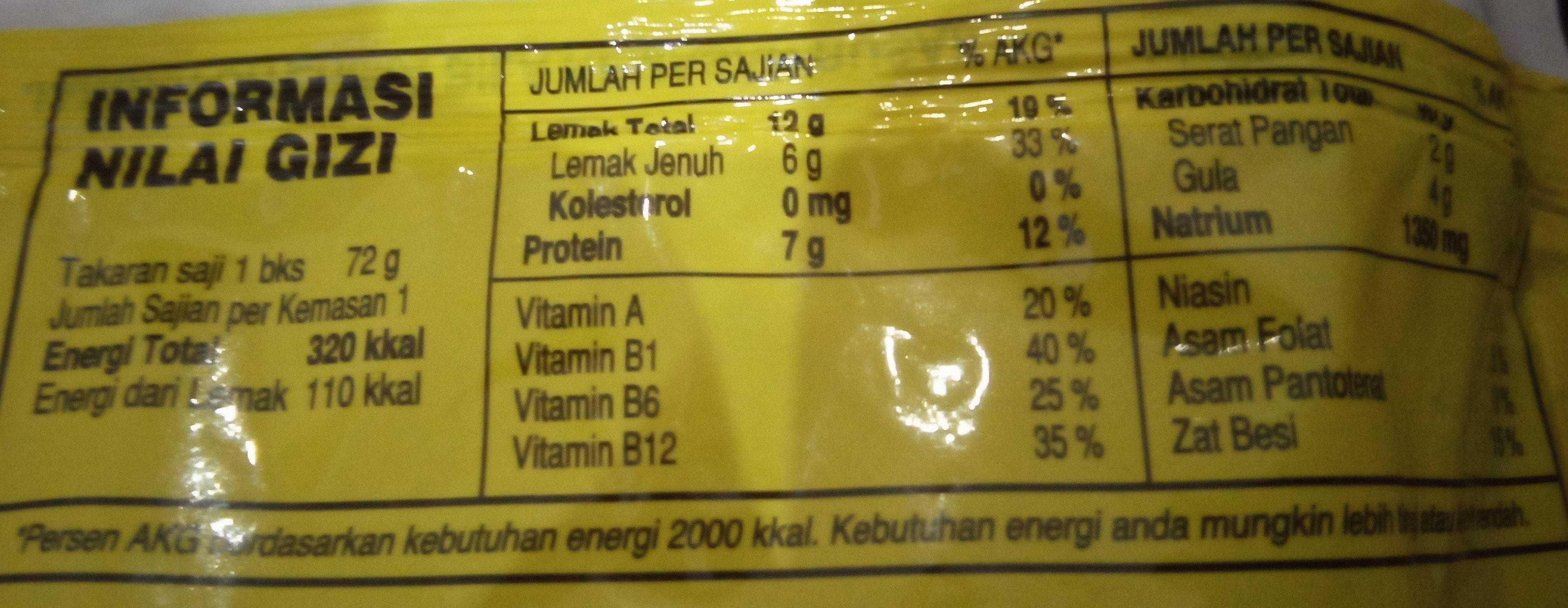 Rasa Kari Ayam - tabel nutrisi