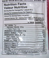 Instant noodles migoreng satay flavour - Nutrition facts
