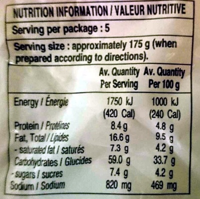 IndoMie Mi Goreng Instant Noodles 5 Pack - Nutrition facts