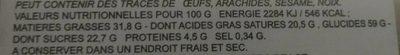 Gaufrettes crème (saveur durian) - Informations nutritionnelles
