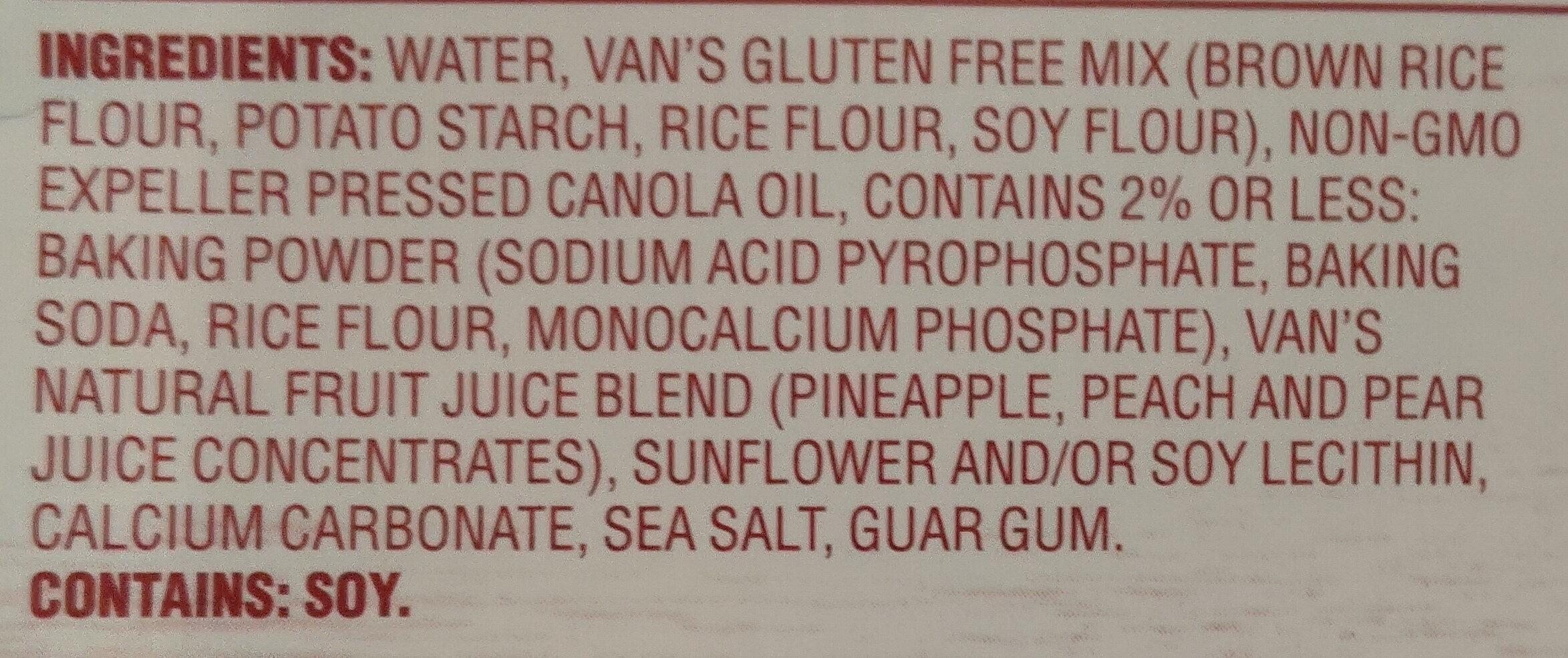 Van's, gluten free waffles, original - Ingrédients - en