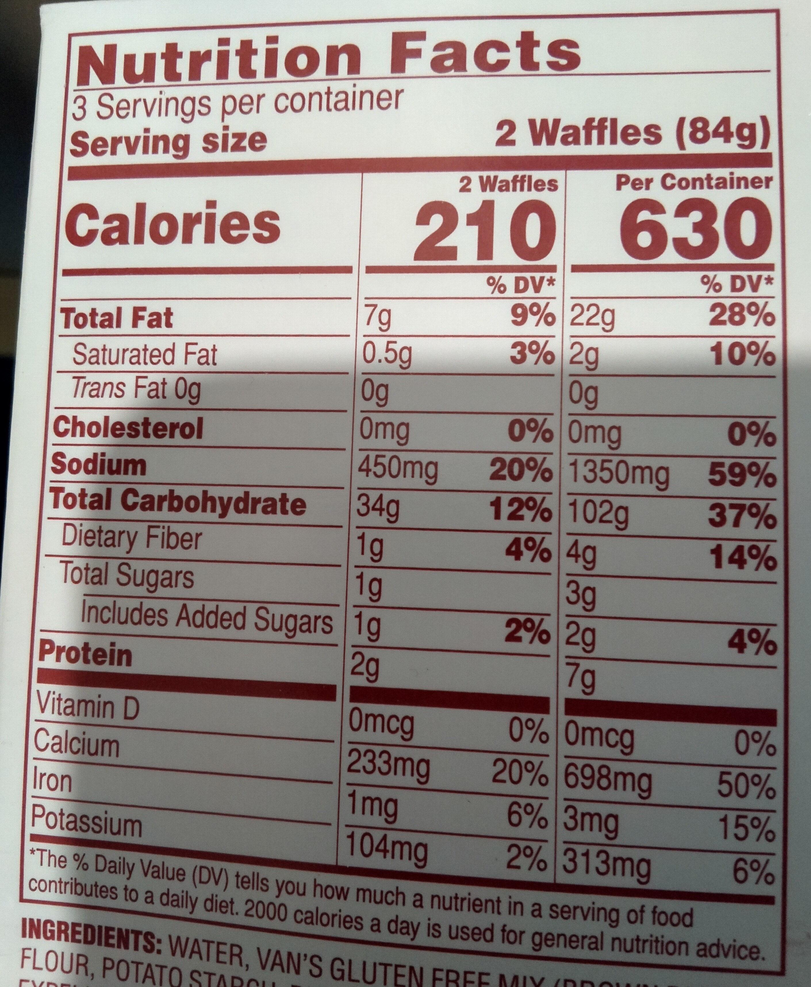 Van's, gluten free waffles, original - Informations nutritionnelles - en