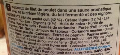 Chicken Tikka Masala - Ingrediënten - fr
