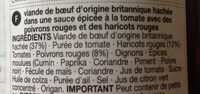 Chilli Con Carne - Ingredients - fr