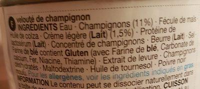 Cream of mushroom soup - Ingrediënten - fr
