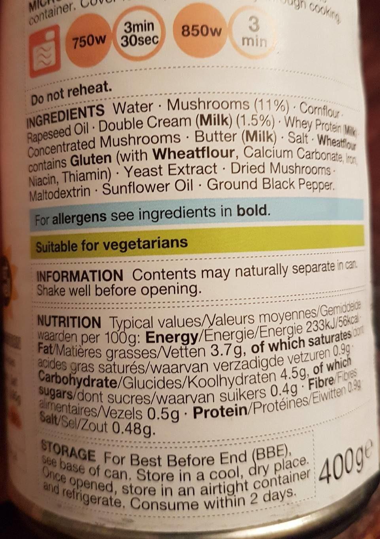 Cream of mushroom soup - Voedingswaarden - fr