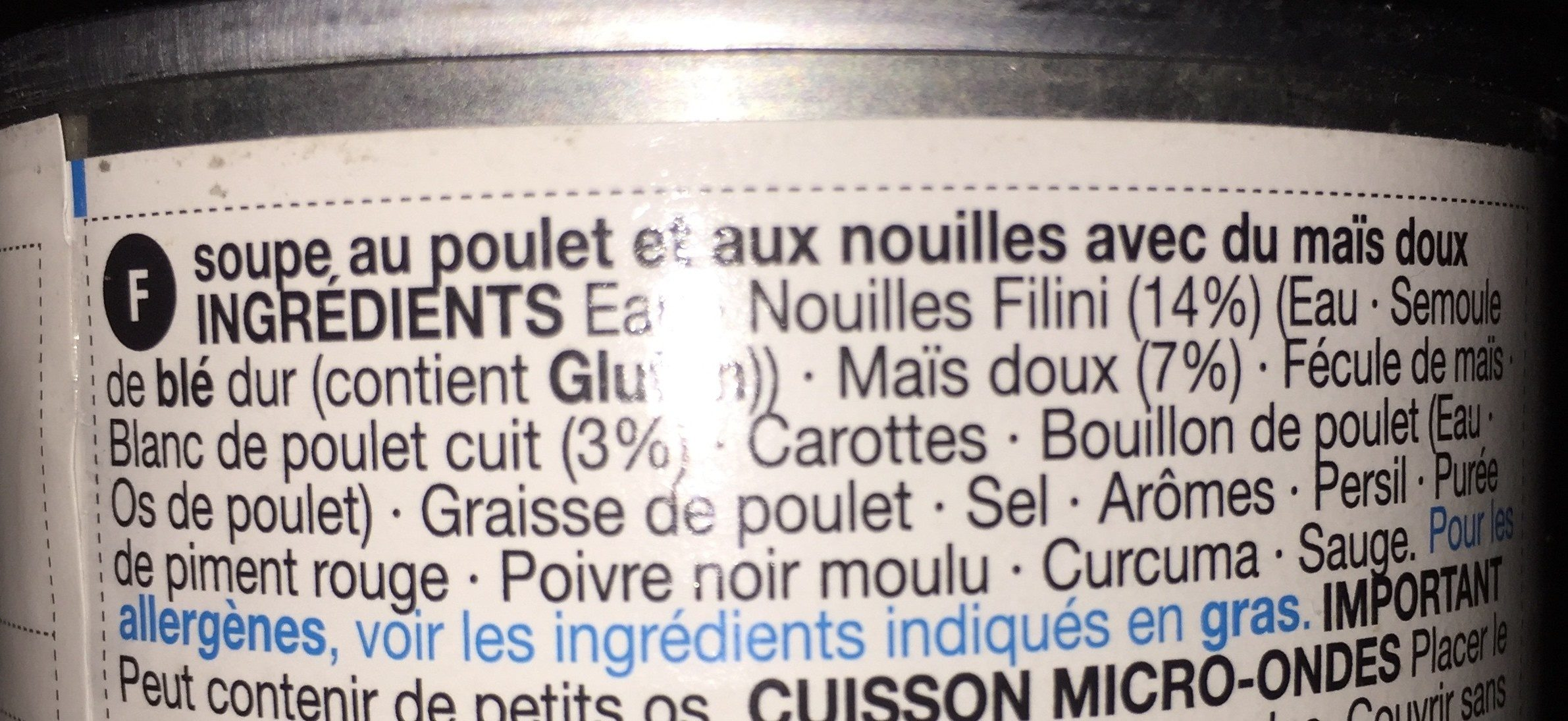 Chicken Noodle - Ingredients - fr