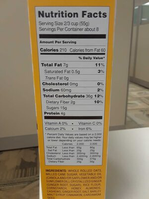 Ginger almond cashew granola - Nutrition facts