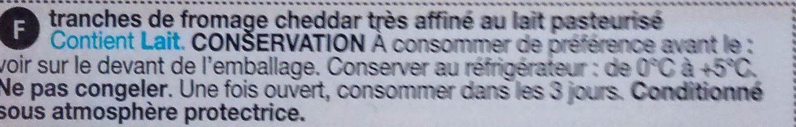 Tranches de Fromage Cheddar - Ingrédients - fr