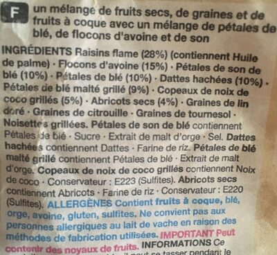 Fruit and Fibre Muesli - Ingredients