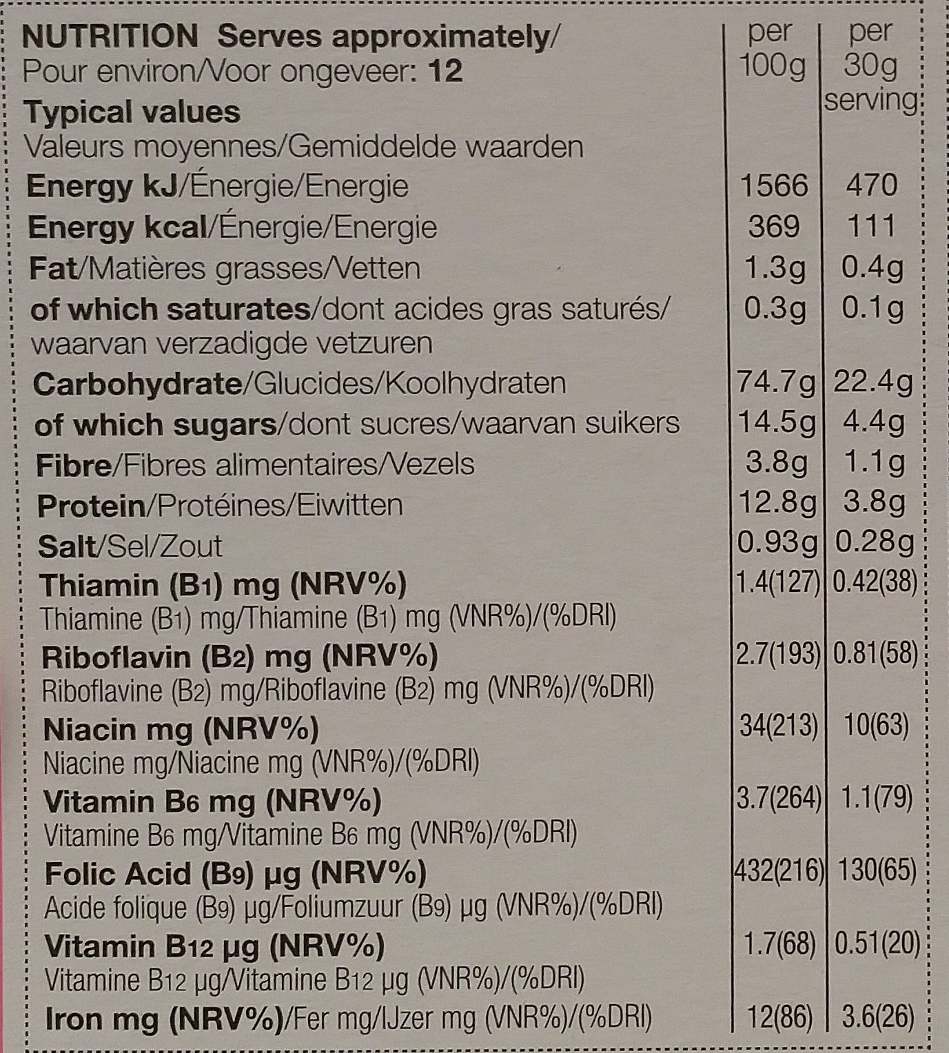 Berries & Cherries Flakes - Nutrition facts