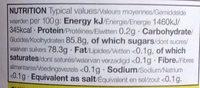 Miel de Manuka - Nutrition facts
