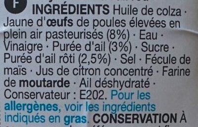 Roasted Garlic Mayo - Ingrédients