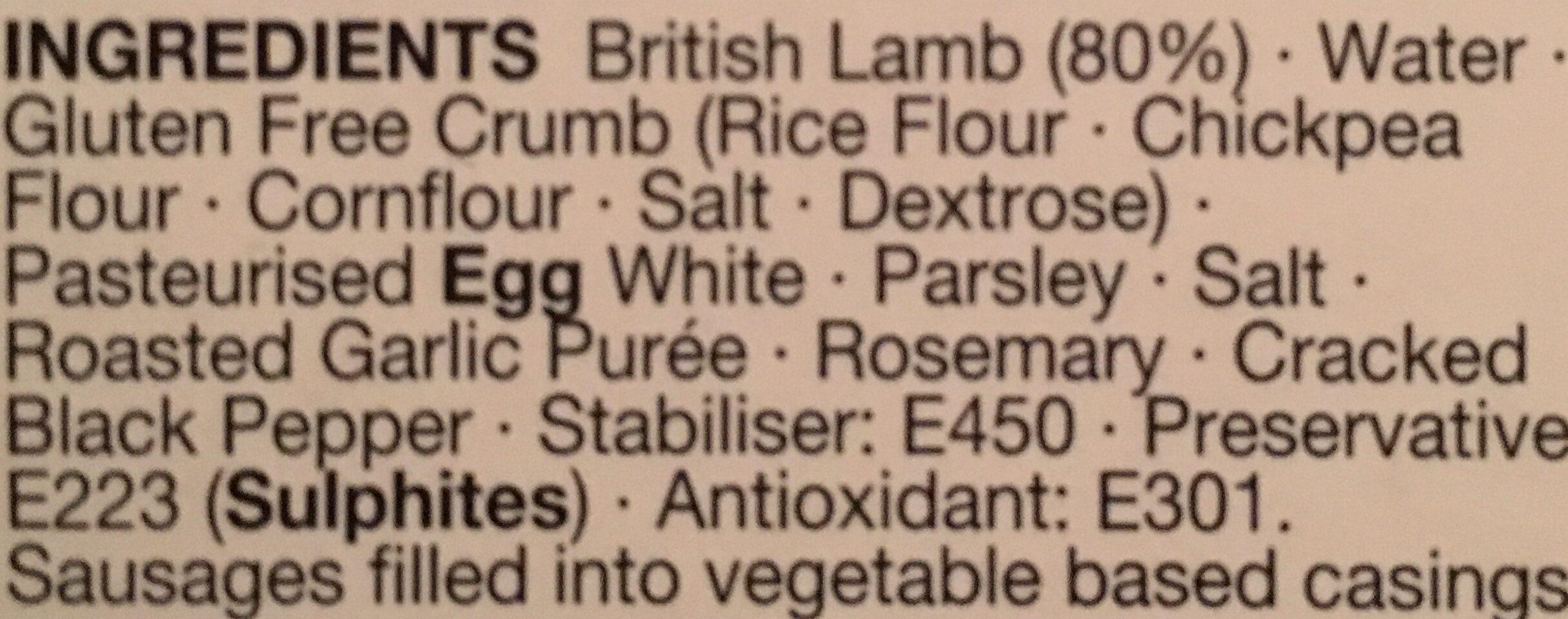 8 Lamb roasted garlic rosemary chipo sausage - Ingredientes - en