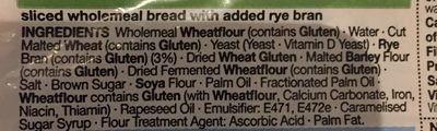 Pain wholemeal with Rye - Ingredients