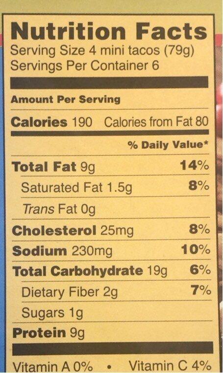 Mini chicken tacos - Nutrition facts - en