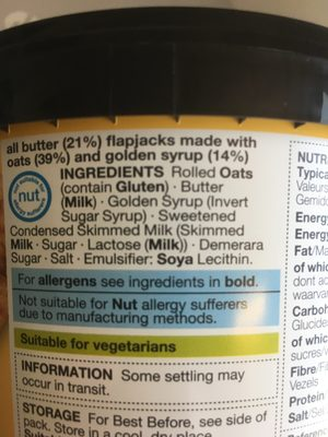 All butter flapjack - Ingredients - en