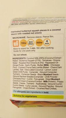 Butternut squash curry - Ingrédients