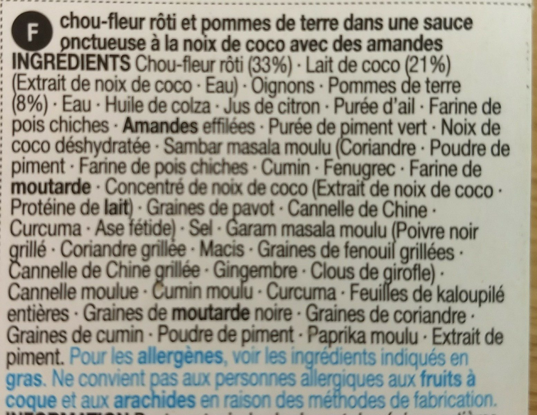 Cauliflower aloo - Ingrédients - fr