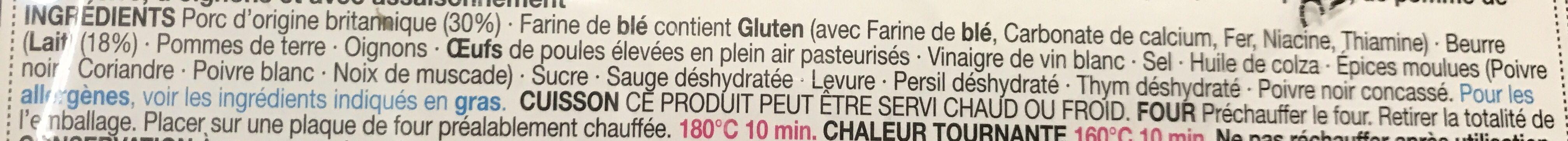 3 Friands à la Saucisse - Ingredients - fr