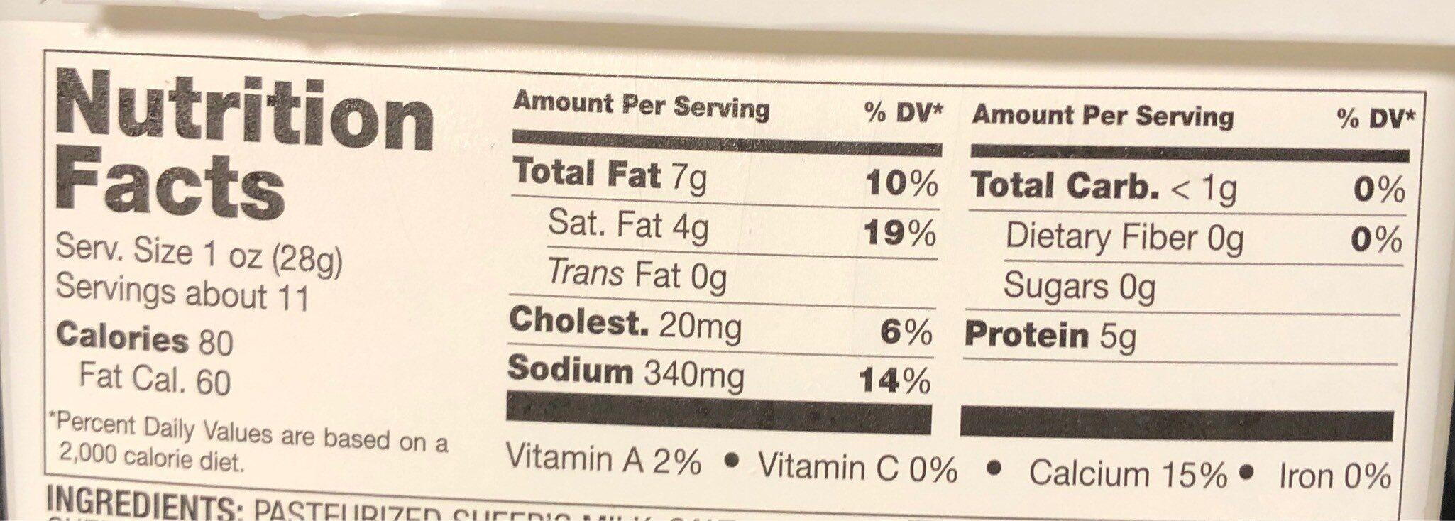 Authentic Greek Feta - Nutrition facts - fr