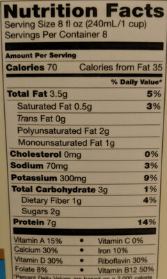 Organic soy unsweetened - Nutrition facts